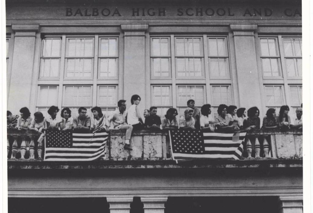 Photograph of Students on the balcony of Balboa High School