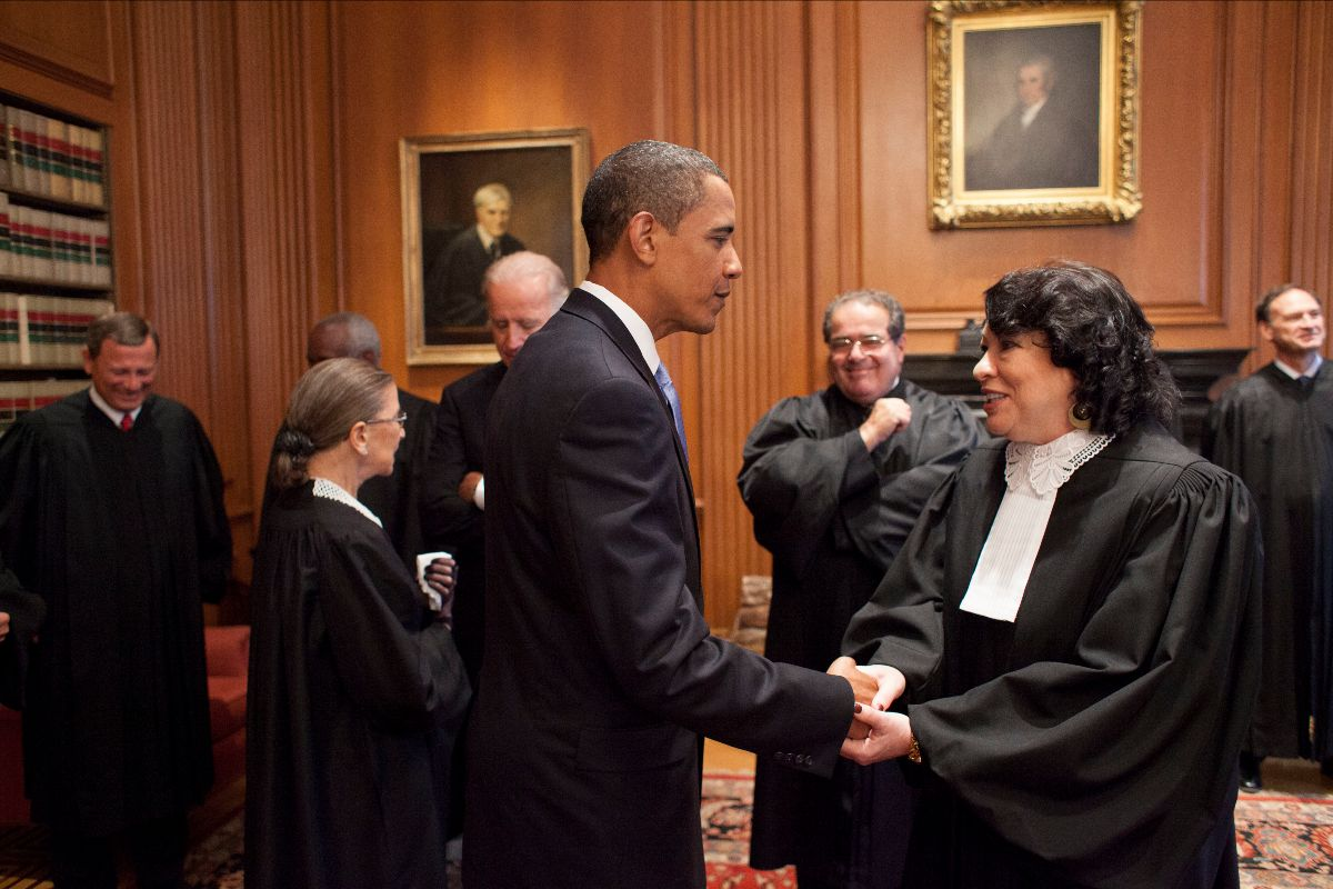 President Barack Obama Greets Justice Sonia Sotomayor
