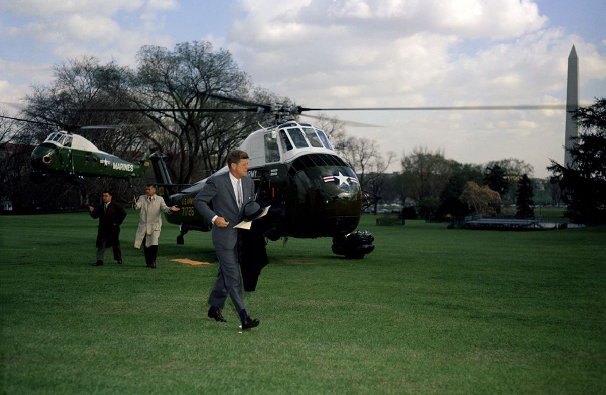 President Kennedy outside helicopter
