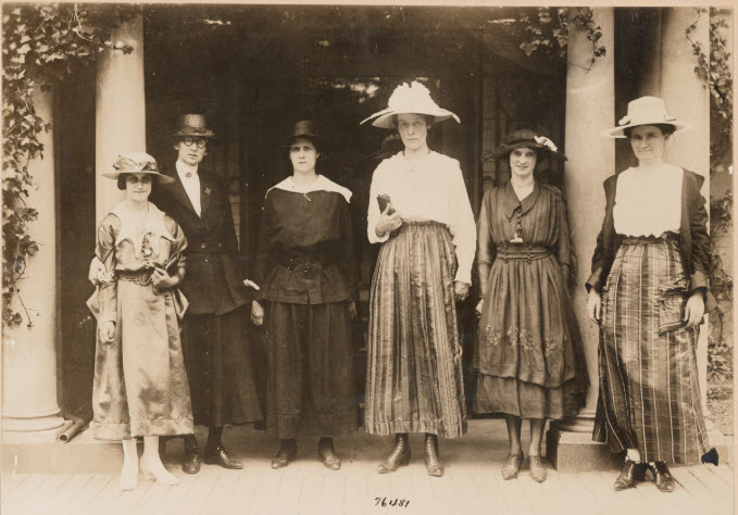 Photograph of six women war workers delegated to see President Wilson and urge him to support motion for an immediate passage of the federal suffrage amendment, May 24, 1918