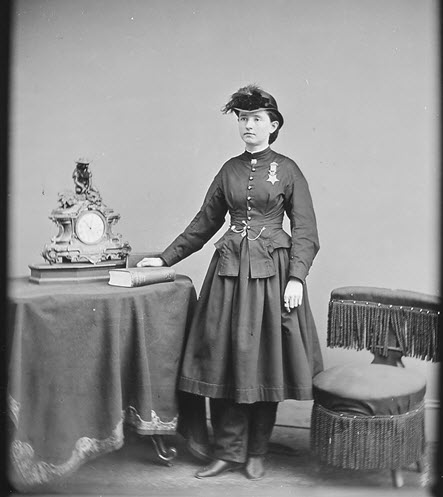 Dr. Mary Walker poses with her Medal of Honor