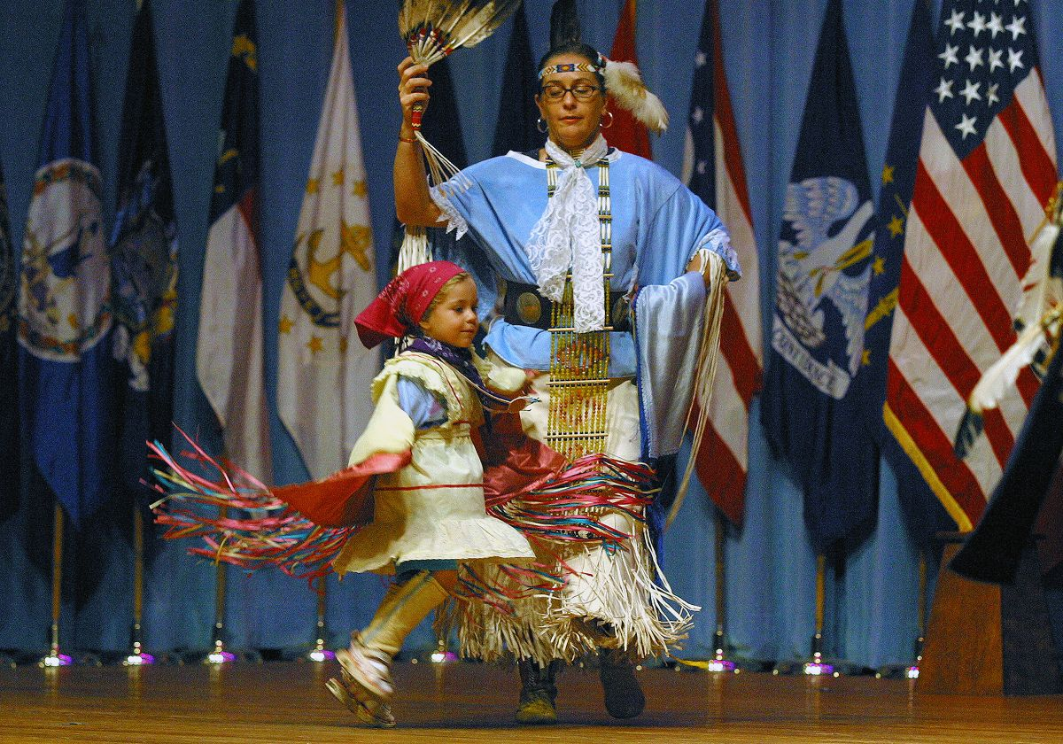 Native American Indian Dancers dressed in traditional native Indian customs perform a story in dance
