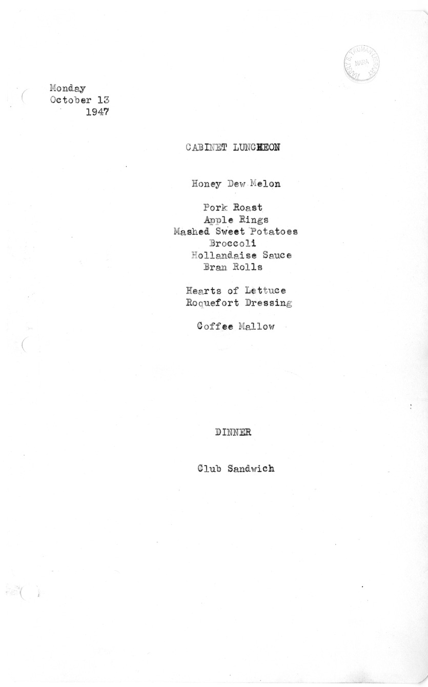 White House Luncheon and Dinner Menu, 10/13/1947