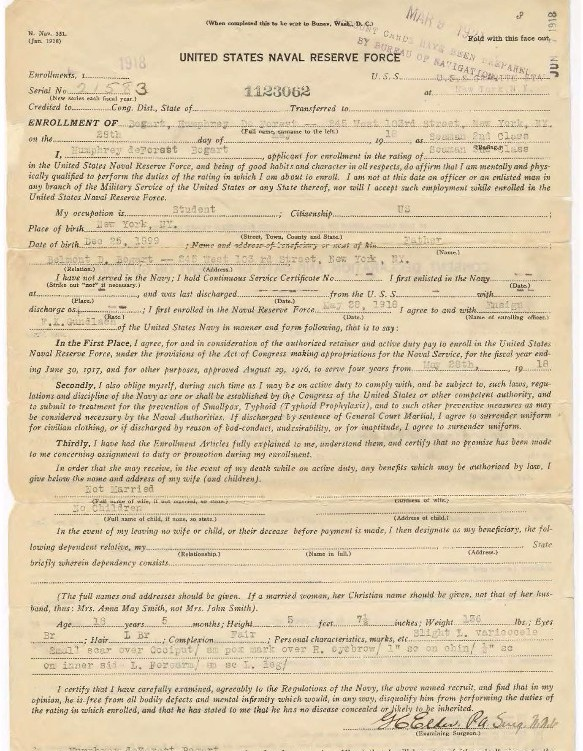 (Right) Humphrey D. Bogart's enlistment form from his Official Military Personnel File, 1918. (National Archives Identifier 40910835)