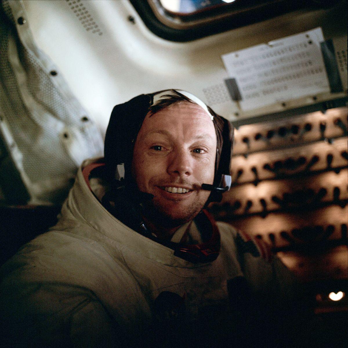 Photograph of Astronaut Neil Armstrong inside the lunar module