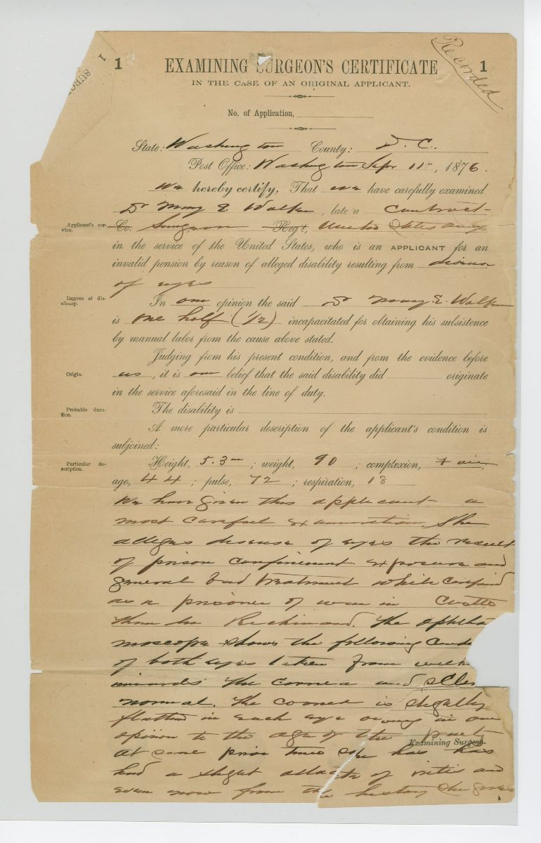 Pension Application for Dr. Mary Walker