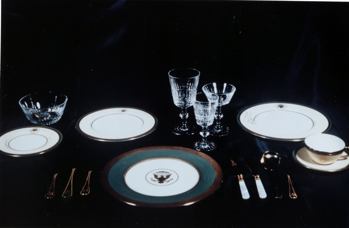 Complete Setting of Truman White House China, Crystal, and Silverware