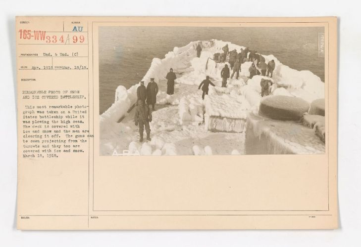 Snow and ice covered battleship, March 18, 1918