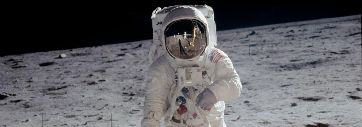 Photograph of Astronaut Edwin Aldrin walking near the lunar module