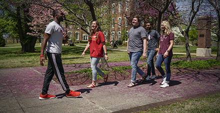 Students touring campus