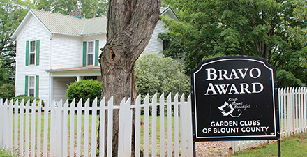 Bravo Award sign in front of Crawford House