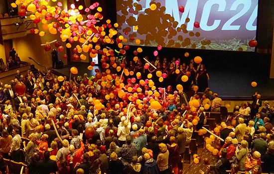 Balloon drop during Bicentennial Celebration