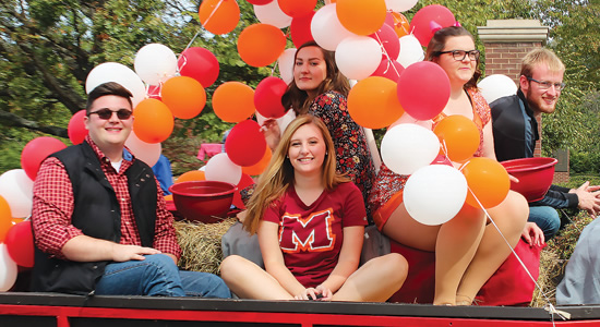 Students in Homecoming parade