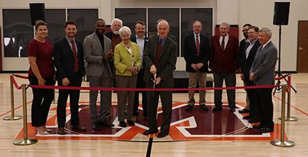 Ribbon-cutting ceremony in Alumni Gym