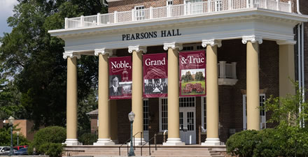 Pearsons Hall with Bicentennial Banners