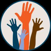 Raised hands graphic.