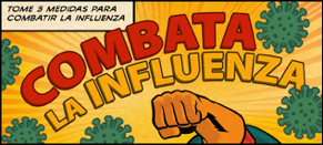 Infographic in Spanish: Tome 3 medidas para combatir la influenza (translation: take 3 steps to fight the flu)