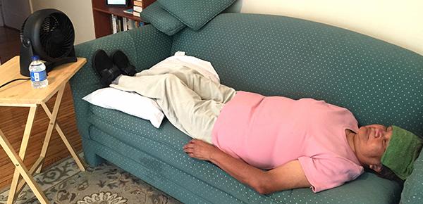 Elder suffering from heat stroke