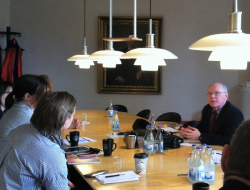 """US Fulbright Professor Benjamin Gregg giving an intercountry lecture on his book, """"The Human Rights State,"""" in Lund, Sweden"""