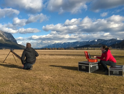Austrian Fulbright Professor Gernot Paulus launching a remotely-piloted aircraft