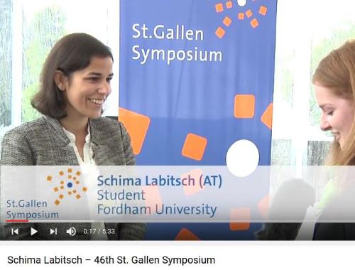 YouTube screenshot of Austrian Fulbrighter Schima Labitsch being interviewed at the St. Gallen Symposium.