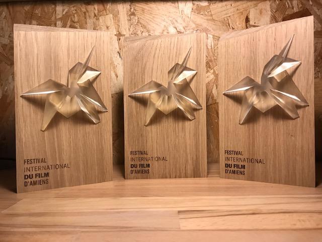 Pour la 2ème année, nous réalisons les trophées du Festival du Film d'Amiens.
