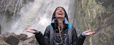 Water laughing near a waterfall
