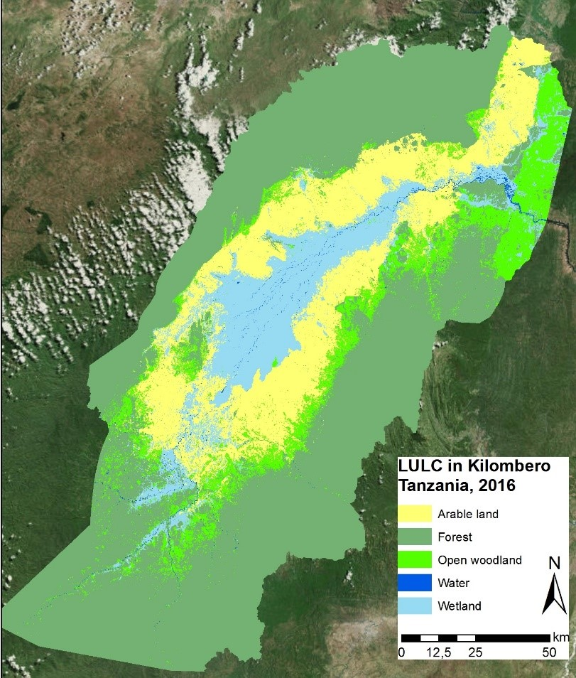 Example of a Land-use land-cover map of the kilombero floodplain for the year 2016 based on Sentinel-2 imagery. ©SWOS