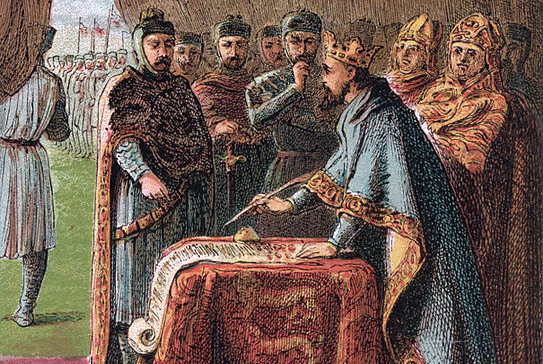 King John signing the Magna Carta, 1215 (Kronheim 1868)