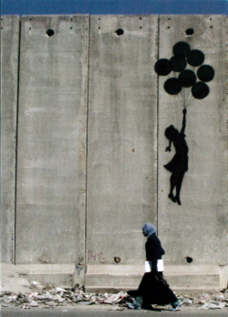 Card depicting Banksy graffiti