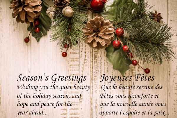 Que la beauté sereine des fêtes vous reconforte