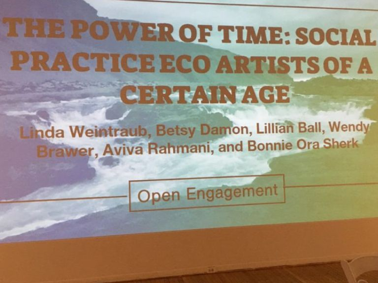 Panel discussion of eco artists including Bonnie Ora at Queens Museum, New York