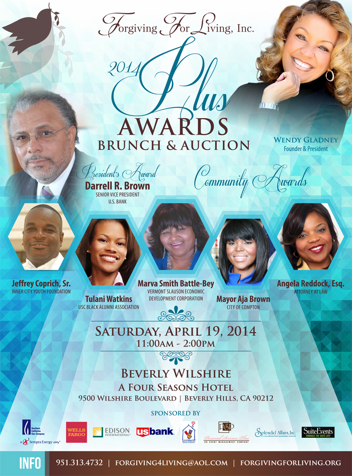 APR 19 :: Save The Date :: Forgiving For Living presents its 2014 PLUS Awards at the Beverly Wilshire Hotel