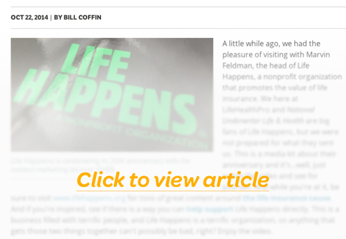 The coolest life insurance marketing ever. Click to view article.