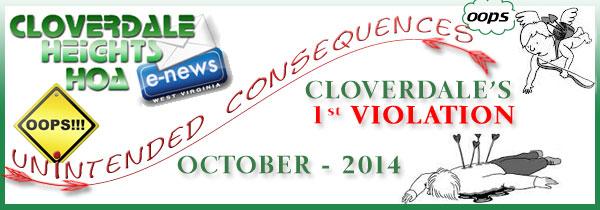 Cloverdale's 1st Violation 10/1/2014