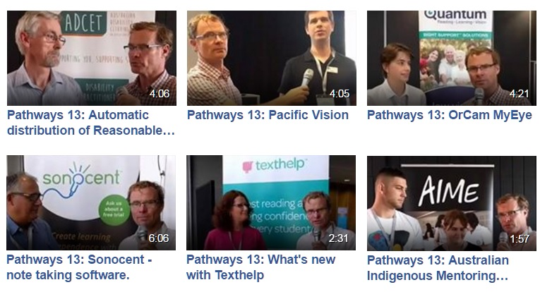 facebook live interviewees. Matt Salas, Pacific Vision, OrCam, Sonocent, Texthelp and AIME