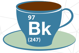 Coffee cup labeled with 97 Bk (247)