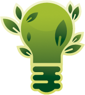 green lightbulb with leaves