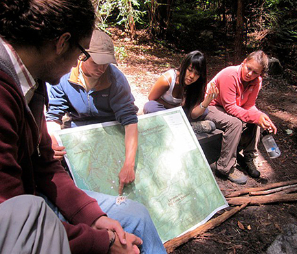 Sueprcourse students get the lay of the land with a topo map at Landels-Hill Big Creek Reserve. Image courtesy Hilary Walecka