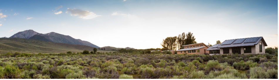 panoramic image of Page Center, lab, and sagebrush at SNARL