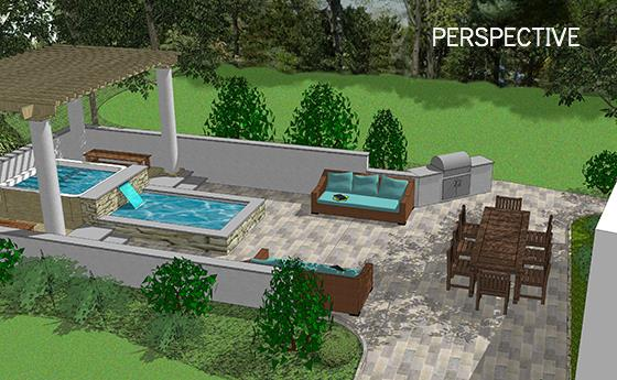 Outdoor Entertainment Area, perspective rendering