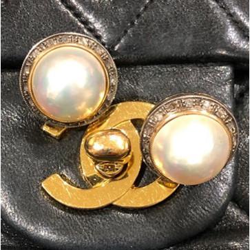 Italian Round Pearl Cabochon Diamond Earrings