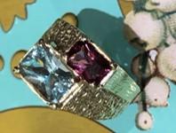 1970s Aquamarine & Pink Garnet Ring