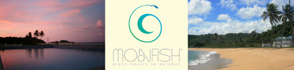 MoonFish Beach Houses logo, pink sunset over pool, and beach photo