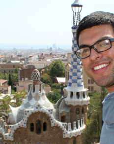 UC Merced student in Parc Güell, Barcelona, Spain