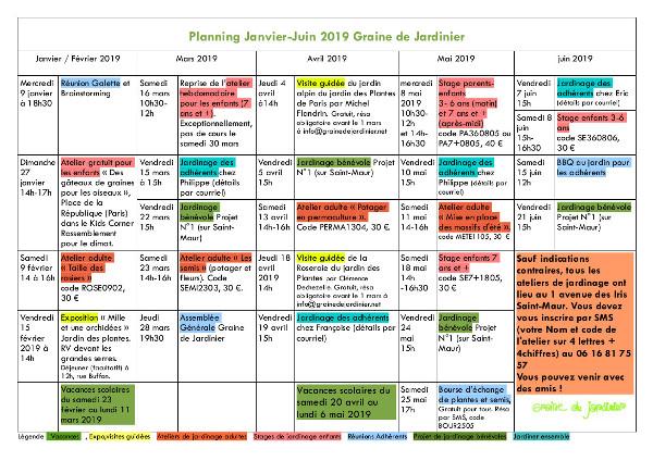 Planning des ateliers de jardinage du printemps 2019