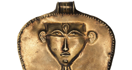 Canaanite amulet of a schematic nude goddess in Egyptian style​