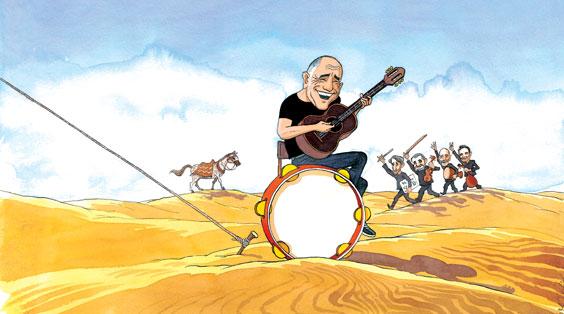 Illustration of Guitarist by Michel Kichka