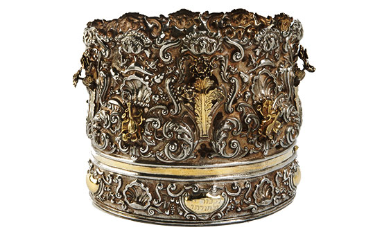 Torah crown with vignettes featuring musical instruments Venice, Italy, 1730–40
