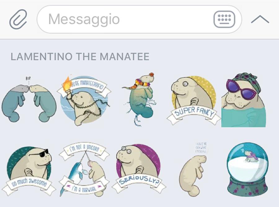 Lamentino manatee tostoini telegram stickers
